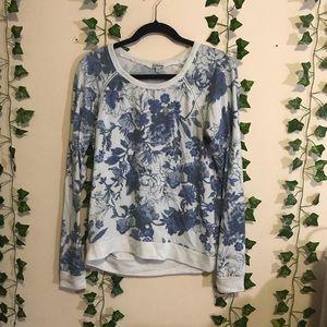 PJ Salvage Women's lightweight floral blue sweater